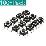 Youmile 100-Pack 6x6x6 mm Miniatura Micro Táctil Táctil Táctil Interruptor de botón táctil Interruptor de Calidad SPST Miniatura/Mini/Micro/Pequeña PCB