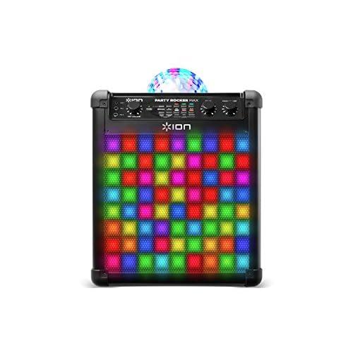 ION Audio Party Rocker Max - Cassa Bluetooth, Karaoke Speaker da 100 W con Microfono, Batteria Ricaricabile, Cupola Luminosa e Griglia a Luci LED