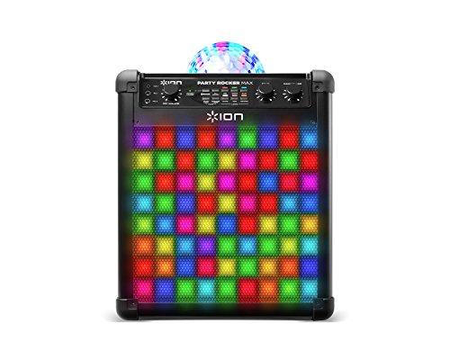ION Audio Party Rocker Max - Bluetooth Karaoke Anlage mit Mikrofon, Partyleuchte, LED-Gitter und Echo-Effekt, 100 Watt, Schwarz, 100 W / 75 Std