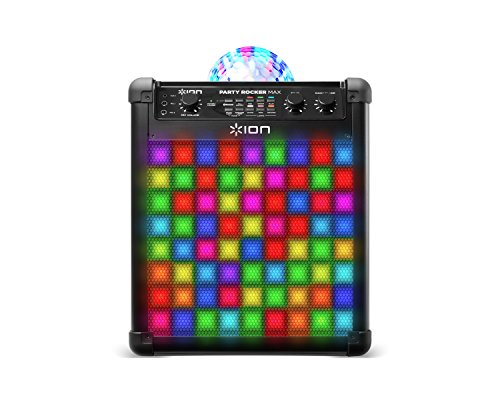 ION Audio Party Rocker Max - Cassa Bluetooth, Karaoke Speaker da 100 W con Microfono, Batteria Ricaricabile, Cupola Luminosa e Griglia a Luci LED