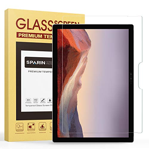 SPARIN Screen Protector Compatible with Surface Pro 7 Plus/ 7/ 6 /5th Gen/4, Tempered Glass Screen Protector with S Pen Compatible/Scratch Resistant
