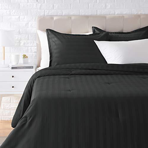 AmazonBasics Juego de edredón con tejido damasco de gran calidad, microfibra suave y fácil de lavar, king, negro