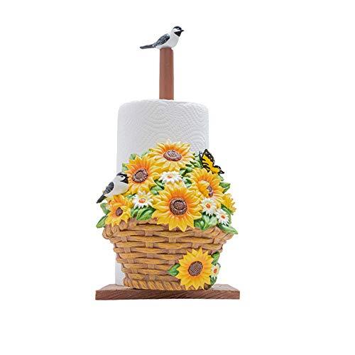 Yamyannie Soporte para Toallas de Papel Papel Decorativo Floral de Toallas de Cocina Soporte de Papel higiénico Soporte for Rollos de Papel Toalla para Casa (Color : Marrón, Size : 14.5x33.5cm)