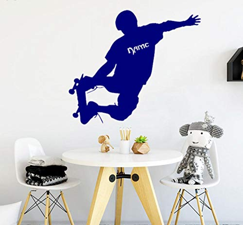 Muursticker 48X42 cm Skateboarden Jongen Blauw Sticker Verwijderbare PVC Home Decoratie Moderne Waterdichte Zelfklevende Kunst Creatieve DIY