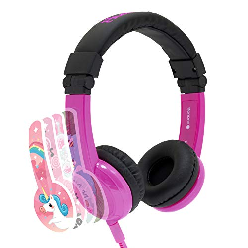 Explore Foldable Volume Limiting Kids Headphones | Built in Headphone Splitter and In Line Mic | For Tablets and Computers | Pink