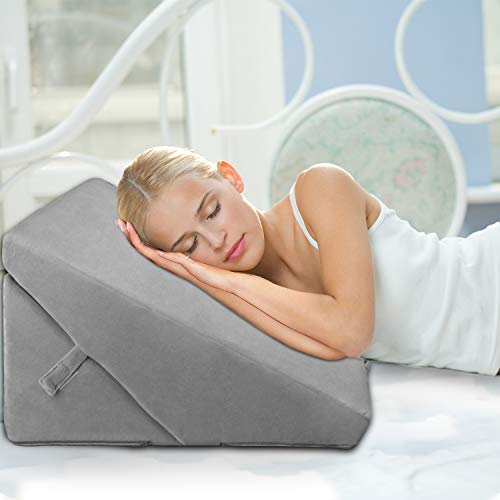 Wedge Pillow, Adjustable 9&12 Inch Memory Foam Wedge Pillow for Sleeping, Bed Pillow with Removable Cover, Folding Breathable Incline Cushion for Acid Reflux, Anti Snoring, Heartburn, Reading