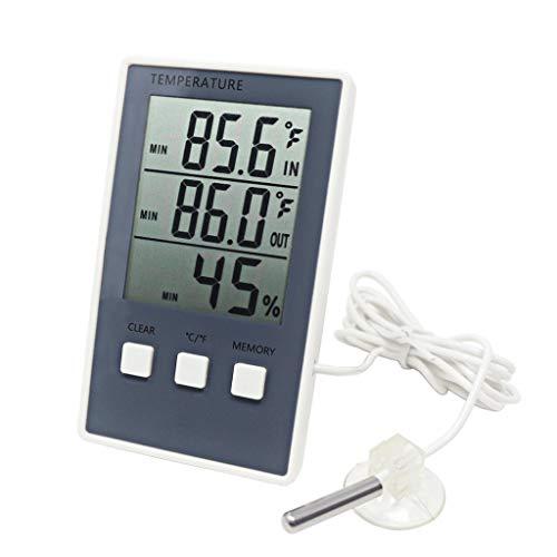 Digitale thermometer, hygrometer, binnentemperatuur en buitentemperatuur, met LCD-display, sensor en weerstation.