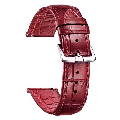 BINLUN Cinturini per Orologi in Pelle Cinturino Orologio a Sgancio Rapido per Uomo e Donna 12mm 14mm 16mm 18mm 19mm 20mm 21mm 22mm 24mm 26mm con 7 Colori