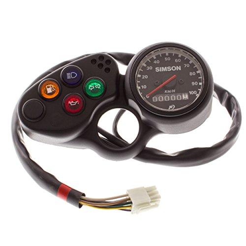 Instrumentenblock mit Facomsa-Tachometer - bis 100 km/h - mit Kontrollleuchten und Kabelbaum