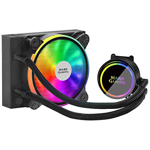 MARSGAMING ML120, Refrigeración líquida, TDP 200W, Ventilador Dual ARGB, Negro