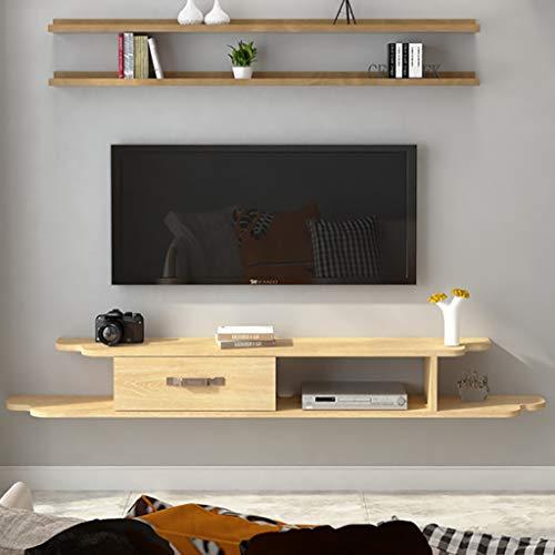 Los estantes flotantes Madera maciza, de montaje en pared estante flotante, organizador de cables for el sistema concentrador de TV de escritorio USB del ordenador, componentes de televisión, montaje