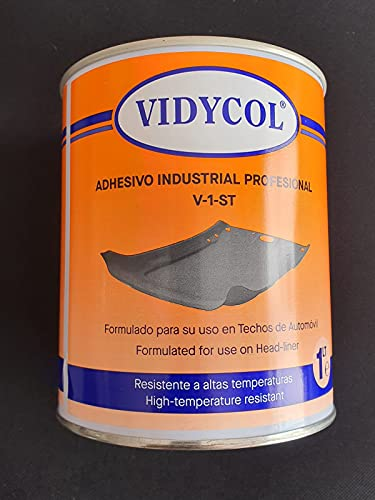 Pegamento resistente alta temperatura para TECHO DE COCHE, piel, tela, madera, goma Y todo tipo de tapiceria Lata de 1L. Cola para aplicar con brocha, super adhesivo y extra fuerte.
