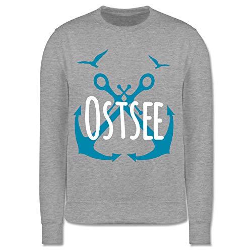 Shirtracer Sprüche Kind - Ostsee - weiß - 140 (9/11 Jahre) - Grau meliert - Möwe - JH030K - Kinder Pullover