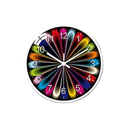 12 Colorful Wall Clock Charming Background Clock Large Non-Ticking Wall Clock Battery Operated Silent Modern Clock for Home Kitchen Office Bedroom Classroom
