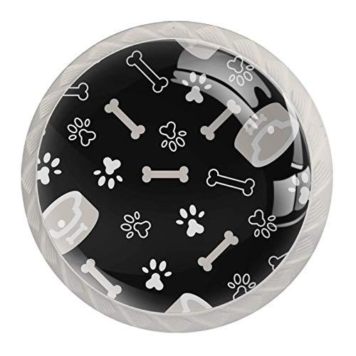 Nuevo y mejorado juego de 4 perillas | Colorido Multi diseño gabinete perillas para cualquier hogar, cocina u oficina, perro hueso cachorro pata gato pie impresión