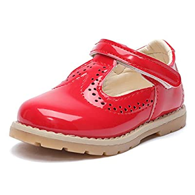E-FAK Toddler Girl's Mary Jane T-Strap Leather Oxford School Shoes Party Dress Shoes Shoes Princess Flats (A/Red, Numeric_10)