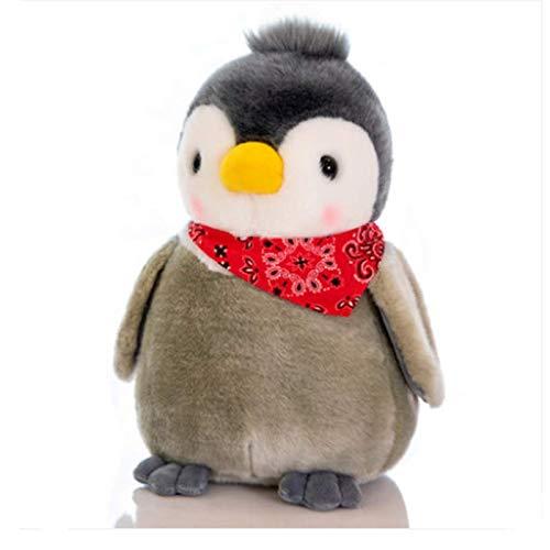 blue whale 0009 Peluche poupée Pingouin, Petite poupée Pingouin, Cadeau de Noël pour Enfant 30 cm de Haut Noeud Papillon Rouge Gris