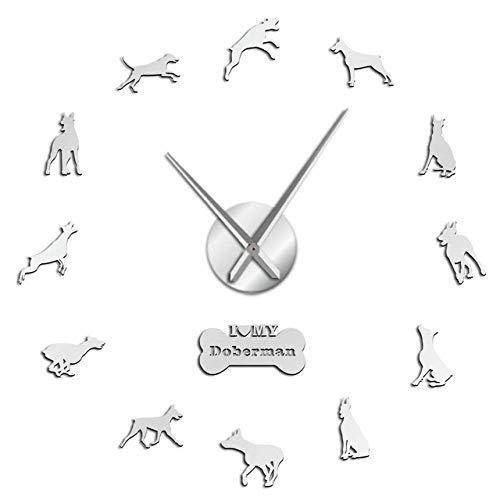 Wrist Watch Wall Clock Doberman Pinscher DIY Acrylic Mirror Effect Big Wall Clock Doberman Large Time Clock Dobie Living Room Decorative Wall Watch,Bl