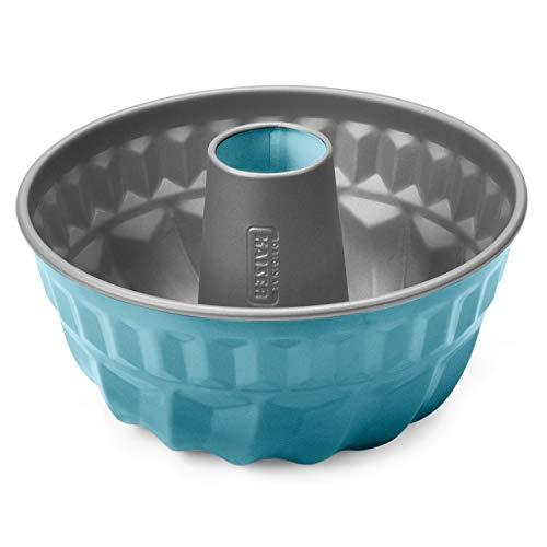 Kaiser Living Color Gugelhupfform 22 cm, Gugelhupf Backform rund blau, Kuchenform antihaftbeschichtet, gleichmäßige Bräunung, Retro petrol