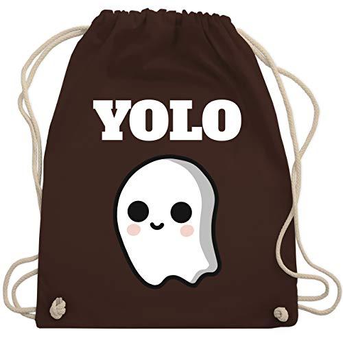 Shirtracer Halloween - Geist YOLO Motiv - Unisize - Braun - Spruch - WM110 - Turnbeutel und Stoffbeutel aus Baumwolle