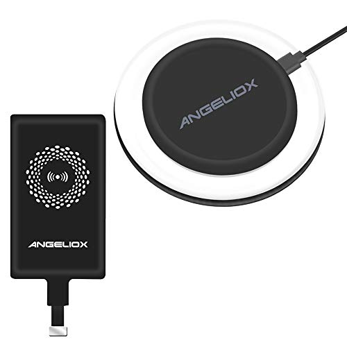 Wireless Charger Charging Pad with Qi Wireless Charging Receiver for iPhone 7 7 Plus 6S Plus 6 Plus 6S 6 5S 5 5C SE (Included Black Qi Receiver)