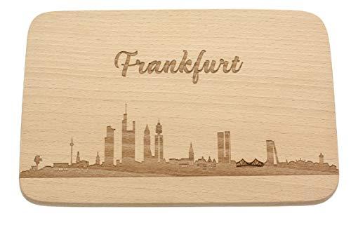 Spruchreif PREMIUM QUALITÄT 100% EMOTIONAL · Frühstücksbrettchen aus Holz · Brotzeitbrett Gravur · Städte Geschenk · Frankfurt Skyline · Geschenk Stadtverliebte · Frühstücksbrettchen Skyline Gravur