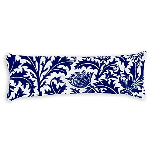 Tamengi William Morris Thistle Damasco azul cobalto blanco tela servilleta cuerpo fundas de almohada fundas con doble cara 50 x 54 pulgadas