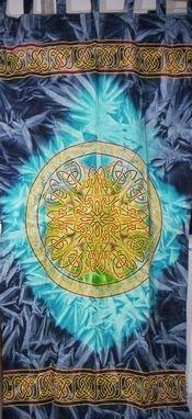 India Arts Handmade 100% Cotton Celtic Wheel of Life Batik Curtain Drape Panel Blue 44x88