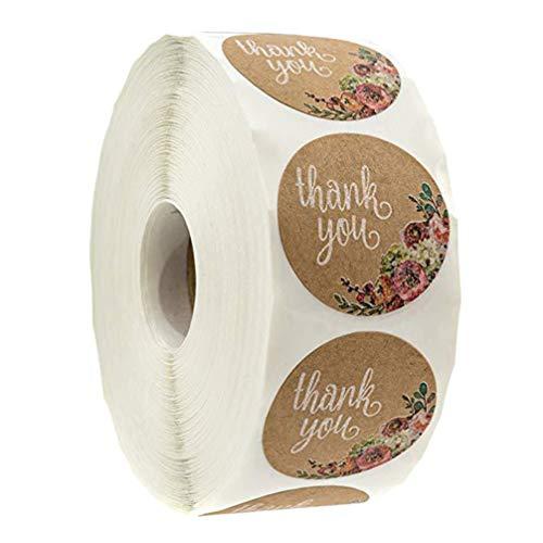 SUPVOX gracias Etiquetas de escritura pegatinas de galletas impresión de la etiqueta engomada del rodillo para la boda regalo envolvente