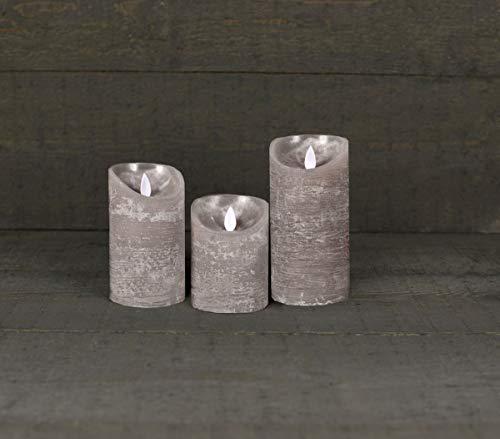 Coen Bakker 3er Set Kerze LED Echtwachskerze 10 cm + 12,5 cm + 15 cm Kerze Ø 7,5 cm viele Farben mit Timer flackender Docht Wachskerze Kerzen, Farbe:Grau