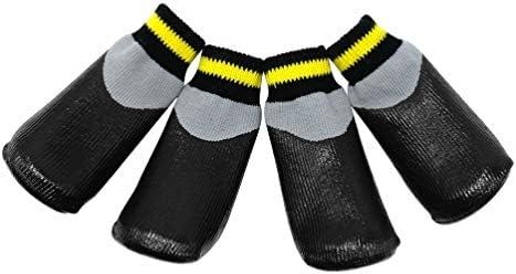 POPETPOP Botas para Perros Zapatos Impermeables para Perros Protectores Botines de Invierno con Calcetines Antideslizantes para Perros pequeños medianos Grandes - Negro (Talla 7)