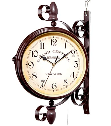 Augfis Double Sided Wall Clock Wall Hanging Home Décor Outdoor Wrought Iron Garden Clock Metal Clock Two Faces Antique Hanging Clock Indoor Décor garden wall clock