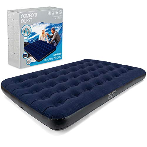 Comfort Quest Double Airbed, Inflatable Guest Air Bed, Blow Up Camping Mattress, Flocked Surface, Coil Beam Construction, L191cm x W137cm x D22cm, Max Weight 295kg