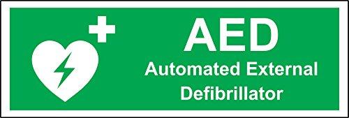 AED Automated External Defibrillator veiligheidsbord - Zelfklevende sticker 300mm x 100mm