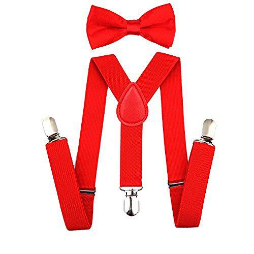 bretelle per bambini e papillon set di bretelle regolabili per cravatta a farfalla set regalo per ragazzi e ragazze (rosso)