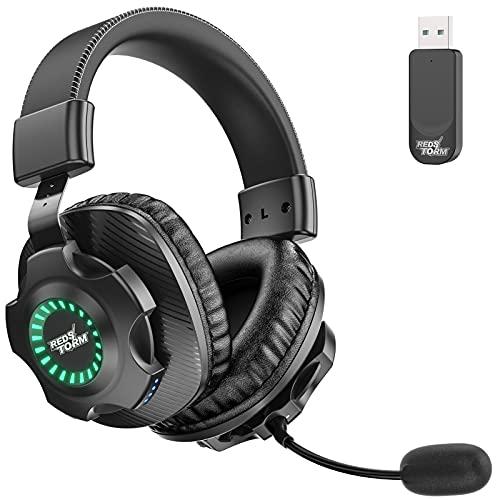 REDSTORM Cuffie Gaming per PC, Cuffie da Gioco con Stereo Wireless 2.4G, Microfono Staccabile, Controllo del Volume, Batteria Ricarica Sostenibile, Illuminazione a Gradiente RGB per PC, MAC, PS4, V07W