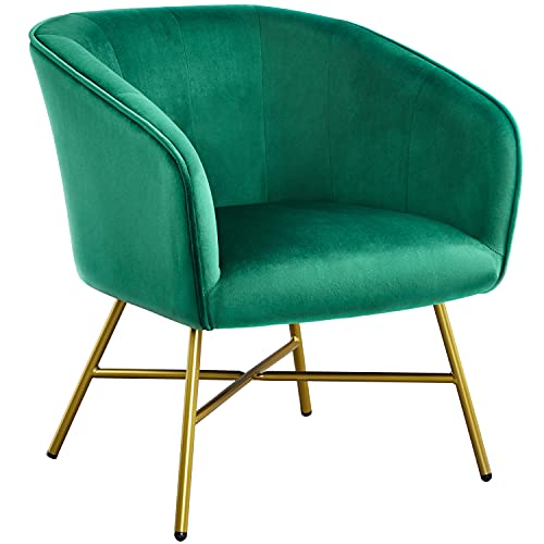 Yaheetech Modern Dining Chair Soft Velvet Accent Chair Armchair Tub Chair Cushioned Seat Sofa Lounge with Steel Legs for Cafe/Living Room/Dining Room Furniture Green