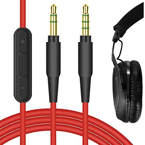 Geekria - Cavo audio di ricambio per cuffie V-MODA Crossfade M-100, M-80, LP2, LP, XS, V-80, TREBLAB Z2, BT5, Koss Pro4S, cavo stereo da 3,5 mm, con microfono e controllo del volume, colore: Rosso
