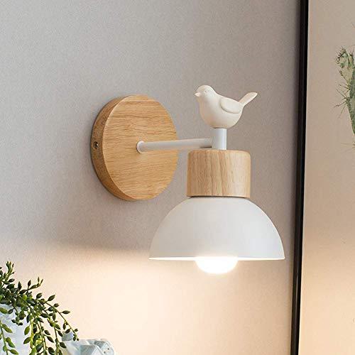 HDDD Scandinavian Design Worught Eisen Schüssel Lampenschirm Wandleuchte mit niedlichen kleinen Vogel und Holzsockel für Schlafzimmer Wohnzimmer Arbeitszimmer (Weiß)