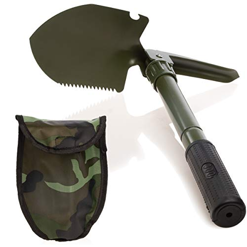65372 Compact Multifunction Folding Shovel for Camping Accessories, Roadside Survival Gear, Car Snow Shovel, RV, Beach, Digging, Gardening or Entrenching, with Camo Carrying Tool Pouch