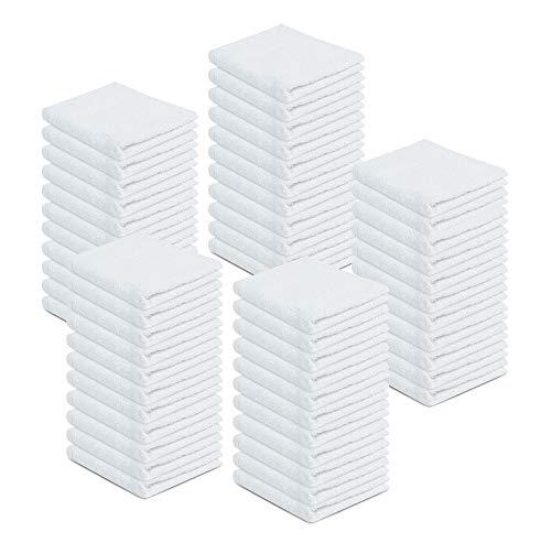 Zuperia Washcloth 100% Cotton 12x12 White 60 Pack Bulk Multipurpose Cleaning Cloths Super Absorbent Kitchen Washcloths