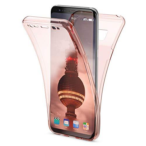 NALIA 360 Grad Hülle kompatibel mit Samsung Galaxy S8, Full Cover Rundum Doppel-Schutz Handyhülle, Dünnes Ganzkörper Silikon Case, Transparente Schutzhülle Vorne & Hinten Schale, Farbe:Rose Gold