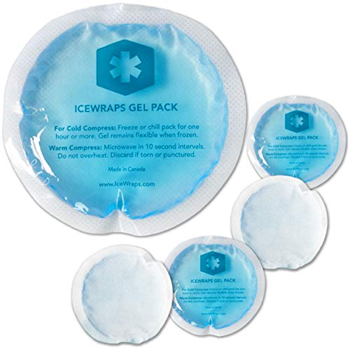 """ICEWRAPS 4"""" Round Reusable Gel Ice Packs with Cloth Backing - Hot Cold Pack for Kids Injuries, Breastfeeding, Wisdom Teeth, First Aid - 5 Pack"""
