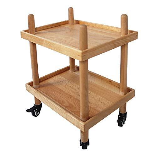 LIPENLI Cocina estante de la cocina Estante con ruedas capa doble estante de madera de la carretilla de la sala de almacenamiento