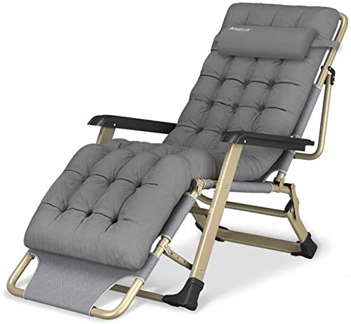 YUYTIN Oversize XL Reclining Chair Folding Zero Gravity Lounge Chair Deck Chairs Cotton Cushion for Garden Outdoor Patio Sun Loungers Bed Recliner Loading up to 300kg