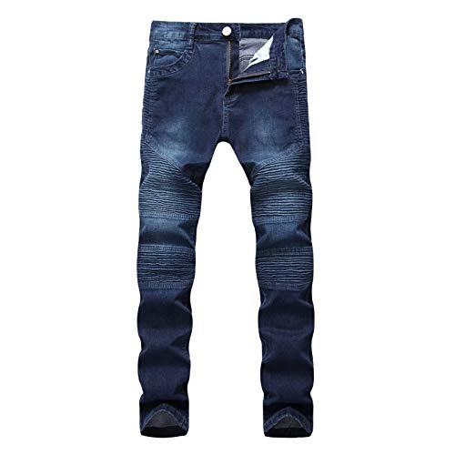 APE TEES Heren Distressed Ripped Biker Slim Jeans Stretched Moto Denim Broek