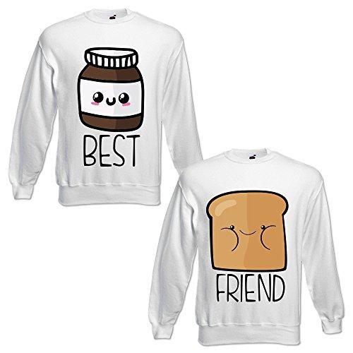 Coppia di Felpe You And Me Best Friend Pane e Cioccolata Bianche Best M Friend S Girocollo