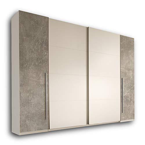 MATCH Eleganter Kleiderschrank mit viel Stauraum - Vielseitiger Schwebetürenschrank in Betonoptik, Weiß - 315 x 226 x 60 cm (B/H/T)
