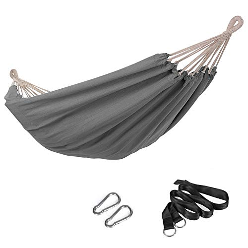 SONGMICS Hammock, 210 x 150 cm, Double Hammock, 300 kg Load Capacity, for Terrace, Balcony, Garden, Outdoor, Camping, with Carry Bag, Fastening Straps and Carabiners, Grey GDC15GY