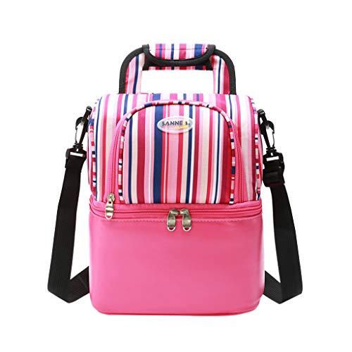 Amuse-MIUMIU Kühltasche Eistasche Picknicktasche Lunch Tasche faltbar, 9L, für Aufbewahrung von Wärme und Kälte, Lunch Tasche Isolierte Kühltasche Tragbar für Schüler Büro Picknick (Hot Pink)